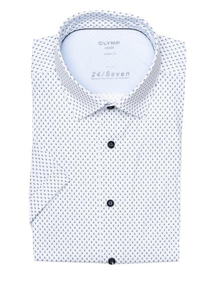 OLYMP Kurzarm-Hemd Luxor 24/7 modern fit aus Jersey, Farbe: WEISS/ HELLBLAU/ DUNKELBLAU (Bild 1)