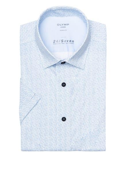 OLYMP Kurzarm-Hemd Luxor 24/7 modern fit aus Jersey, Farbe: WEISS/ BLAU (Bild 1)