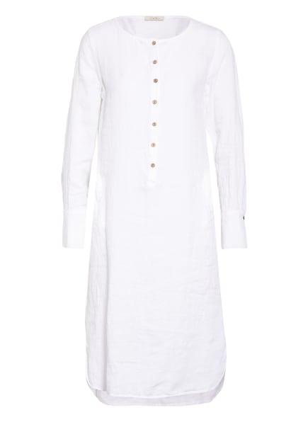 lilienfels Hemdblusenkleid aus Leinen mit 3/4-Arm, Farbe: WEISS (Bild 1)