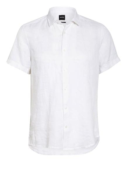 BOSS Kurzarm-Hemd RASH Regular Fit aus Leinen, Farbe: WEISS (Bild 1)