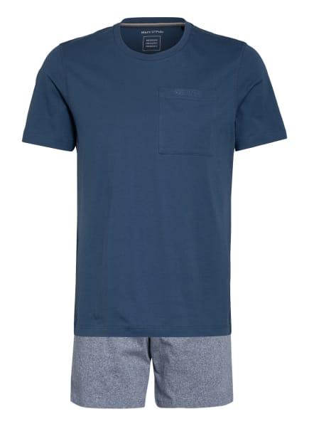 Marc O'Polo Shorty-Schlafanzug, Farbe: BLAUGRAU/ WEISS (Bild 1)