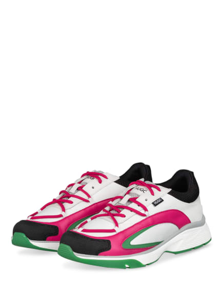 HUGO Plateau-Sneaker GILDA RUNN, Farbe: WEISS/ PINK/ GRÜN (Bild 1)
