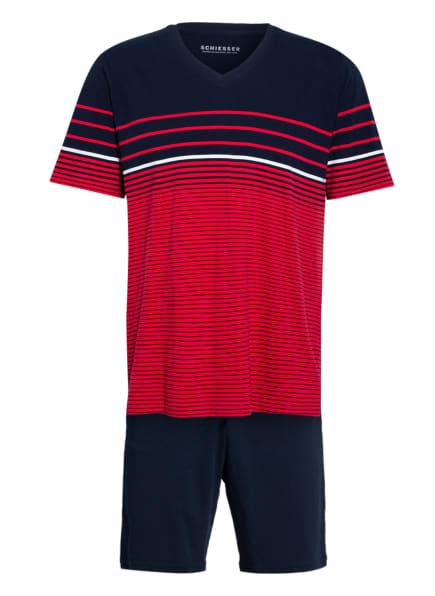 SCHIESSER Shorty-Schlafanzug , Farbe: DUNKELBLAU/ ROT/ WEISS (Bild 1)
