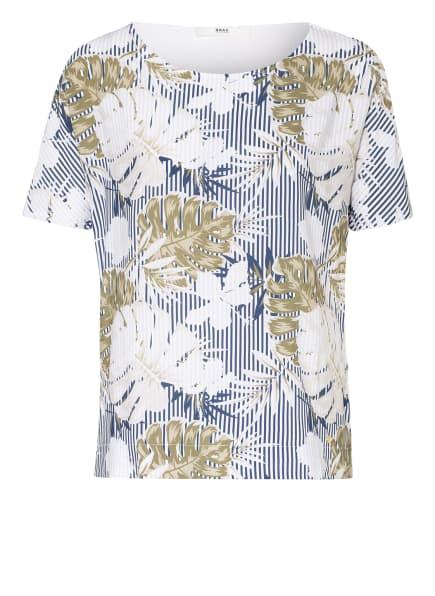BRAX T-Shirt CAELEN im Materialmix, Farbe: WEISS/ BLAU/ OLIV (Bild 1)