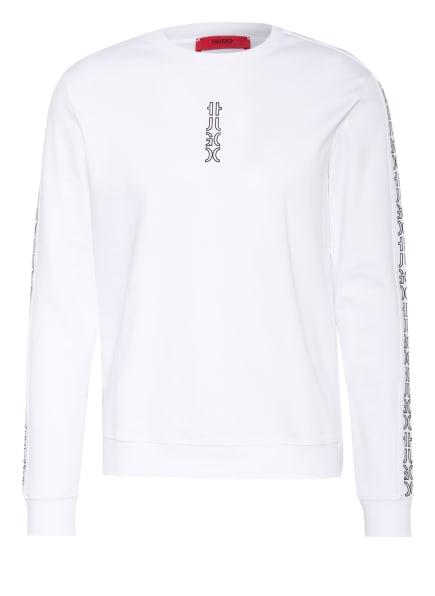 HUGO Sweatshirt DOBY mit Galonstreifen, Farbe: WEISS/ SCHWARZ (Bild 1)