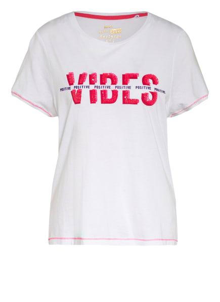 KEY LARGO T-Shirt FLOOR mit Paillettenbesatz , Farbe: WEISS/ NEONROSA (Bild 1)