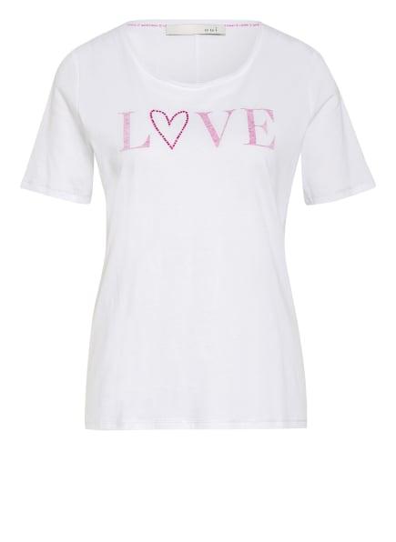 oui T-Shirt mit Schmucksteinbesatz, Farbe: WEISS/ FUCHSIA (Bild 1)