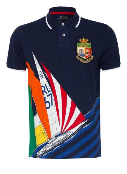 POLO RALPH LAUREN Piqué-Poloshirt Custom Slim Fit, Farbe: DUNKELBLAU/ ROT/ ORANGE (Bild 1)