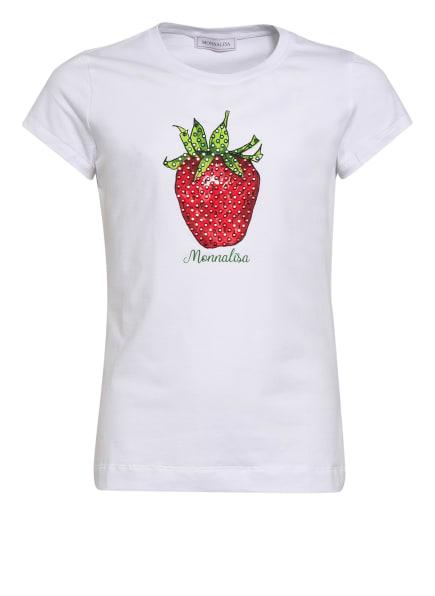 MONNALISA T-Shirt mit Schmucksteinbesatz, Farbe: WEISS (Bild 1)