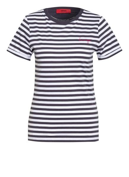 HUGO T-Shirt THE SLIM TEE, Farbe: WEISS/ DUNKELBLAU (Bild 1)
