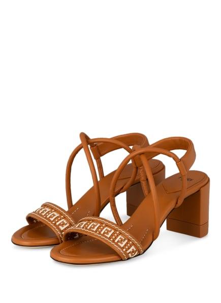 FENDI Sandaletten , Farbe: COGNAC/ ECRU (Bild 1)