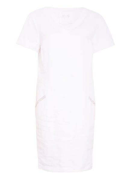 oui Kleid im Materialmix mit Leinen, Farbe: WEISS (Bild 1)