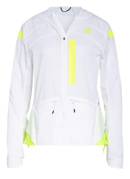 adidas Laufjacke MARATHON, Farbe: WEISS/ NEONGELB (Bild 1)