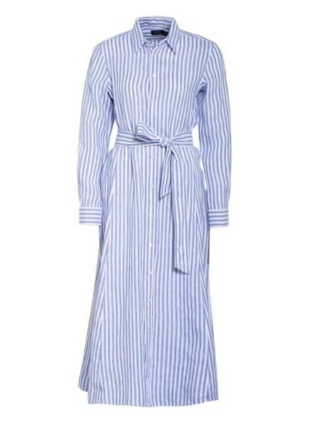 POLO RALPH LAUREN Hemdblusenkleid aus Leinen, Farbe: WEISS/ HELLBLAU (Bild 1)