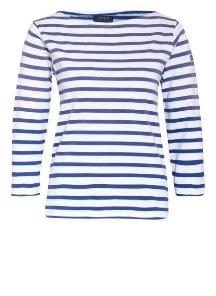 POLO RALPH LAUREN Shirt mit 3/4-Arm, Farbe: WEISS/ BLAU (Bild 1)