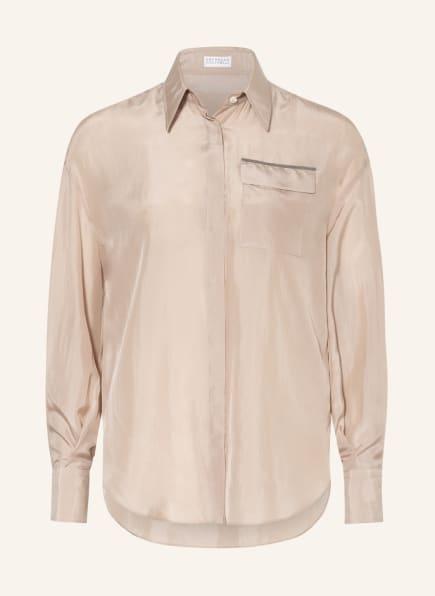 BRUNELLO CUCINELLI Hemdbluse aus Seide mit Perlenbesatz, Farbe: CREME (Bild 1)