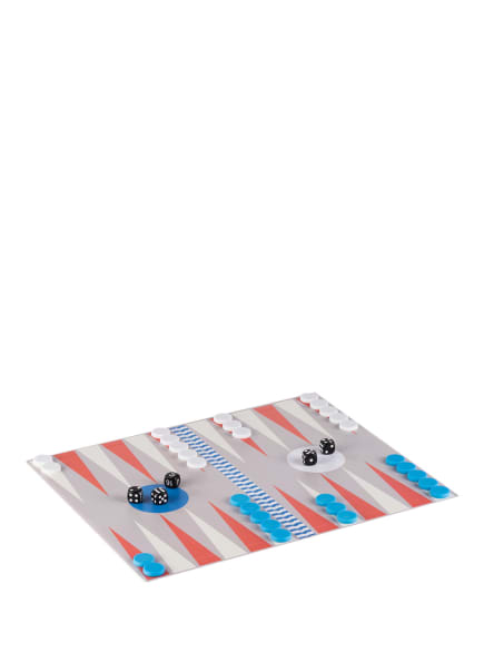 PRINTWORKS Brettspiel BACKGAMMON, Farbe: HELLGRAU/ WEISS/ BLAU (Bild 1)