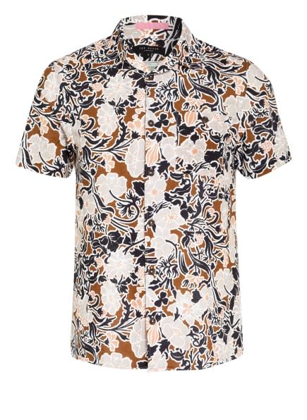 TED BAKER Resorthemd SITCOM Slim Fit mit Leinen, Farbe: SCHWARZ/ WEISS/ BRAUN (Bild 1)