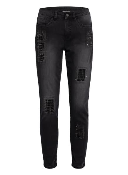Joseph Ribkoff Destroyed-Jeans mit Schmucksteinbesatz, Farbe: 3075 GRANIT/GRAU (Bild 1)