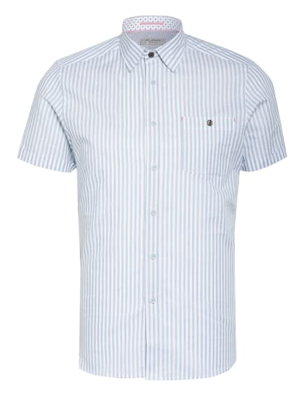 TED BAKER Kurzarm-Hemd TANAS Slim Fit mit Leinen, Farbe: WEISS/ BLAUGRAU (Bild 1)