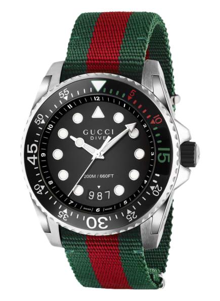 GUCCI Armbanduhr DIVE , Farbe: SCHWARZ/ GRÜN/ ROT (Bild 1)