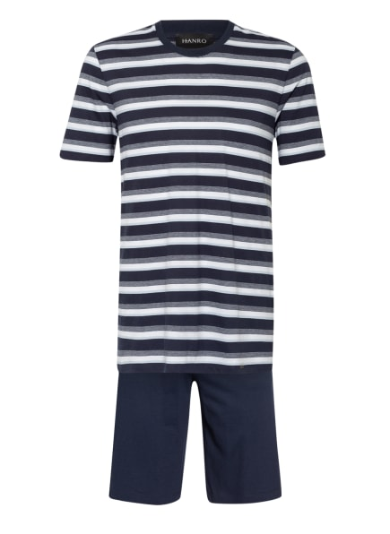 HANRO Shorty-Schlafanzug NIGHT & DAY, Farbe: DUNKELBLAU/ WEISS (Bild 1)