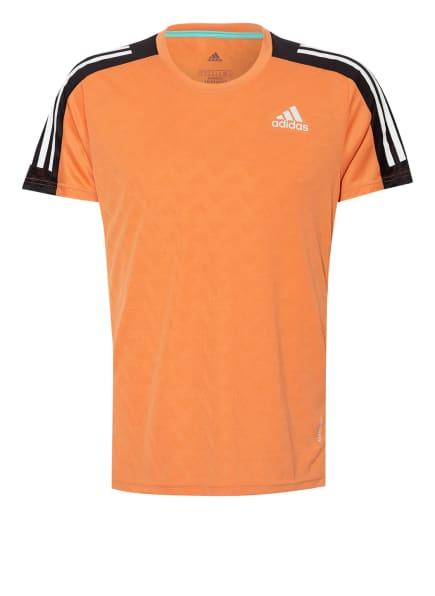 adidas Laufshirt OWN THE RUN mit Mesh-Einsätzen, Farbe: ORANGE/ SCHWARZ/ WEISS (Bild 1)