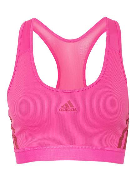 adidas Sport-BH BELIEVE THIS 3-STRIPES RIB mit Mesh-Einsatz, Farbe: NEONPINK (Bild 1)