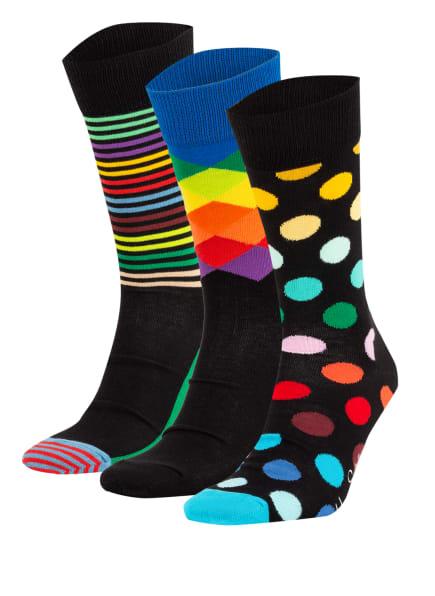 Happy Socks 3er-Pack Strümpfe mit Geschenkbox, Farbe: SCHWARZ/ DUNKELGELB/ GRÜN (Bild 1)