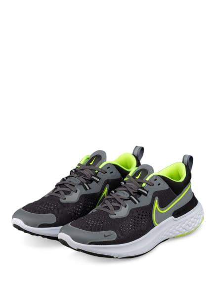 Nike Laufschuhe REACT MILER 2, Farbe: SCHWARZ/ DUNKELGRAU/ NEONGELB (Bild 1)