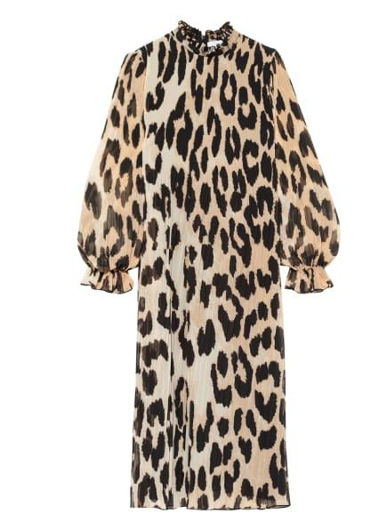 GANNI Plisseekleid , Farbe: CAMEL/ ECRU/ SCHWARZ (Bild 1)
