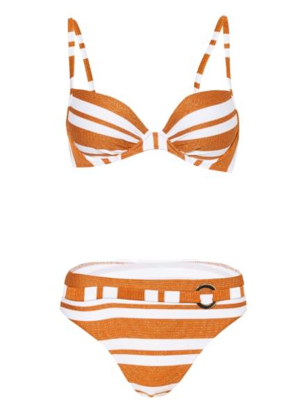 MARYAN MEHLHORN Bügel-Bikini COPERNICA mit Glitzergarn , Farbe: WEISS/ DUNKELORANGE/ GOLD (Bild 1)