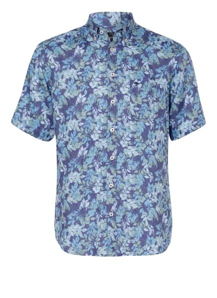 FYNCH-HATTON Kurzarm-Hemd Slim Fit aus Leinen, Farbe: HELLGRÜN/ HELLBLAU/ DUNKELBLAU (Bild 1)