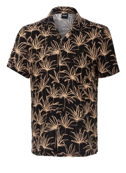 BOSS Resorthemd RHYTHM Slim Fit mit Leinen, Farbe: SCHWARZ/ HELLBRAUN (Bild 1)