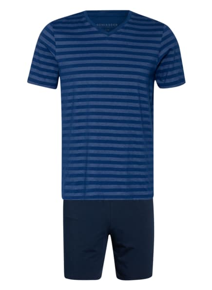 SCHIESSER Shorty-Schlafanzug HOLLOW AIR TECH , Farbe: DUNKELBLAU/ BLAU (Bild 1)