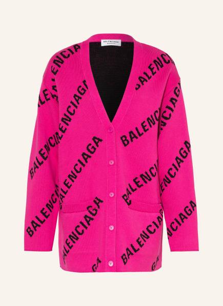 BALENCIAGA Oversized-Cardigan, Farbe: PINK/ SCHWARZ (Bild 1)