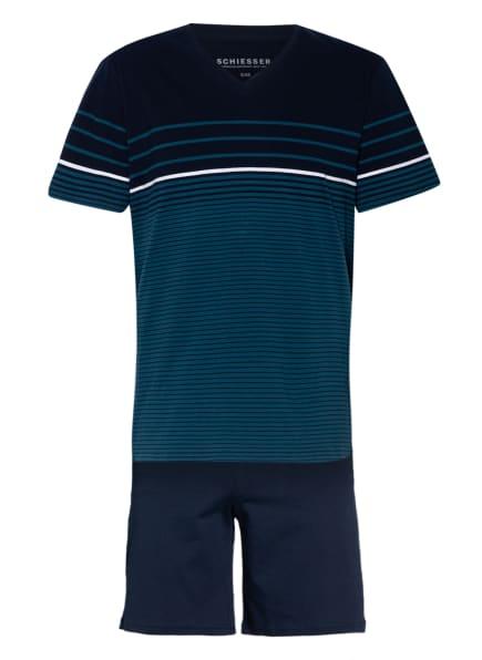 SCHIESSER Shorty-Schlafanzug , Farbe: PETROL/ DUNKELBLAU (Bild 1)