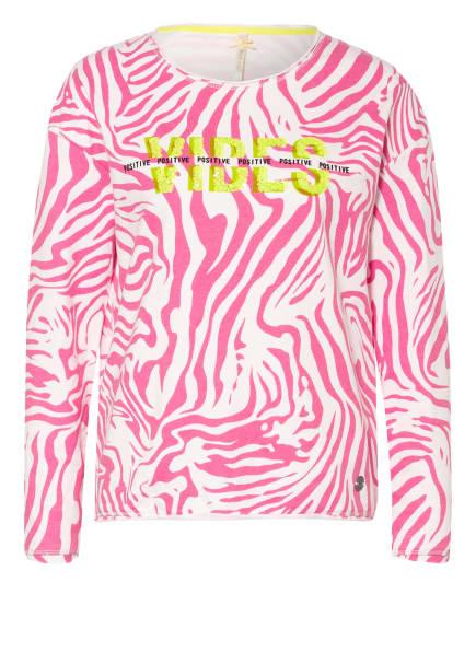 KEY LARGO Sweatshirt GROOVE mit Paillettenbesatz, Farbe: WEISS/ PINK (Bild 1)