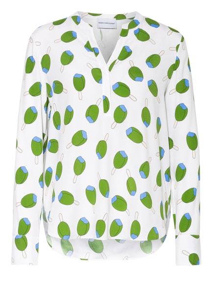 herzensangelegenheit Blusenshirt aus Seide , Farbe: WEISS/ GRÜN/ BLAU (Bild 1)