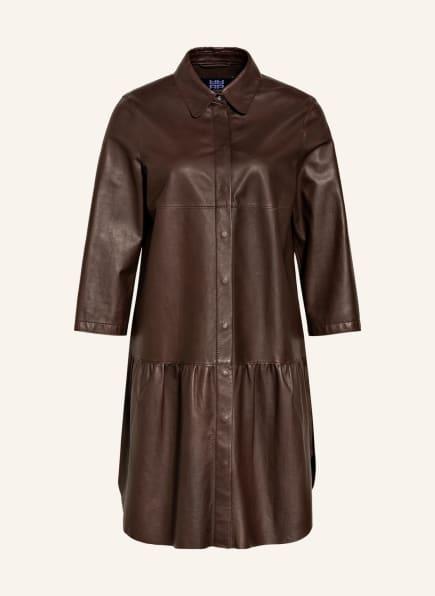 RIANI Hemdblusenkleid aus Leder , Farbe: DUNKELBRAUN (Bild 1)