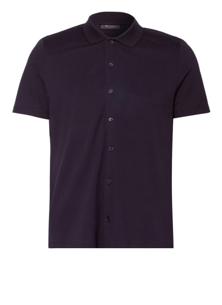 MAERZ MUENCHEN Kurzarm-Hemd Comfort Fit aus Piqué, Farbe: DUNKELBLAU (Bild 1)