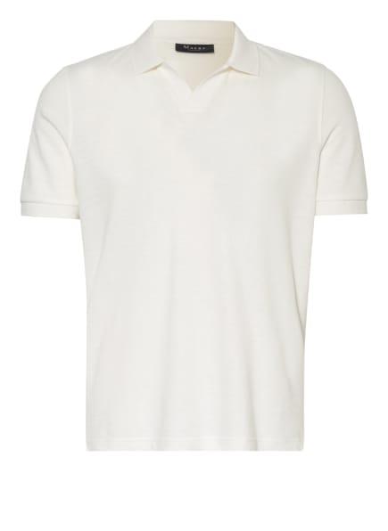 MAERZ MUENCHEN Piqué-Poloshirt mit Leinen, Farbe: WEISS (Bild 1)