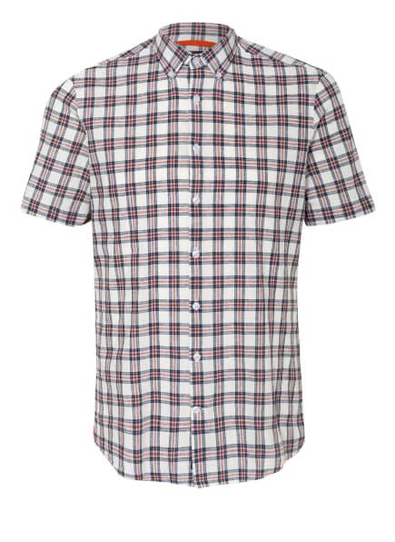 MAERZ MUENCHEN Kurzarm-Hemd Regular Fit mit Leinen, Farbe: WEISS/ DUNKELROT/ DUNKELBLAU (Bild 1)