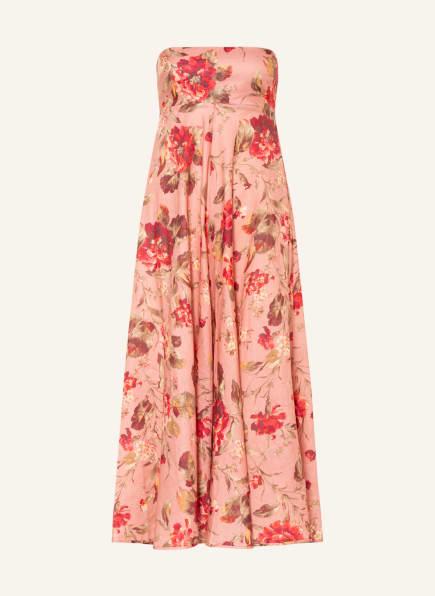 ZIMMERMANN Bandeau-Kleid CASSIA aus Leinen, Farbe: ROSÉ/ DUNKELROT/ GRÜN (Bild 1)