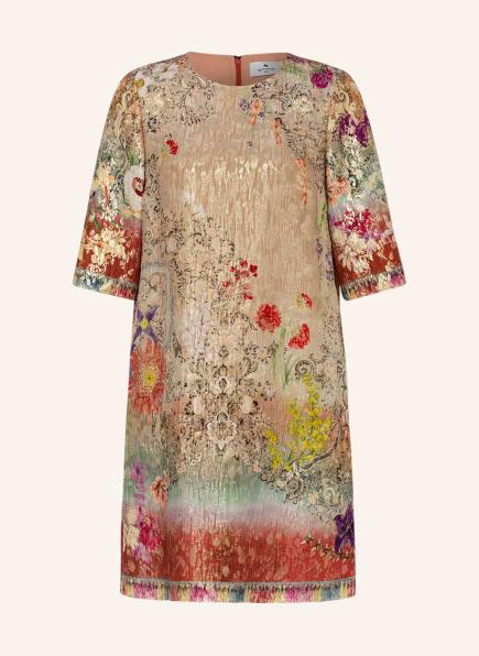 ETRO Jacquard-Kleid mit Seide und 3/4-Arm, Farbe: GOLD/ DUNKELROT/ HELLGRÜN (Bild 1)