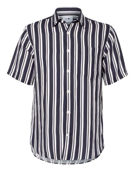 NN07 Kurzarm-Hemd ERRICO mit Leinen, Farbe: DUNKELBLAU/ WEISS (Bild 1)
