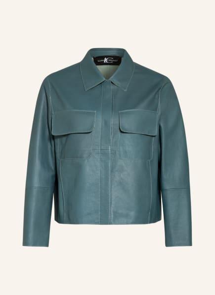 LUISA CERANO Overjacket aus Leder, Farbe: PETROL (Bild 1)