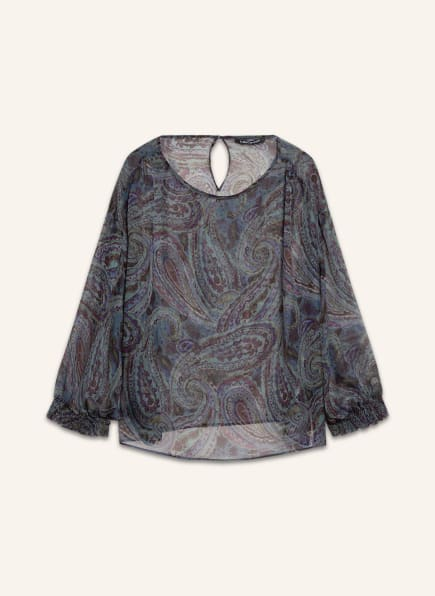 LUISA CERANO Blusenshirt aus Seide mit 3/4-Arm, Farbe: BLAU/ GRÜN/ FUCHSIA (Bild 1)
