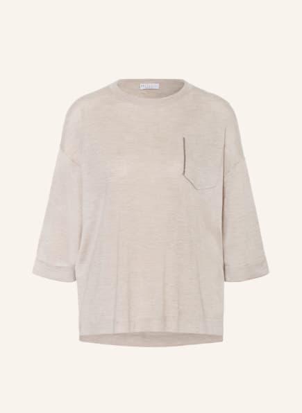 BRUNELLO CUCINELLI Cashmere-Pullover mit Seide, Farbe: HELLBRAUN (Bild 1)