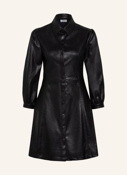 LIU JO Hemdblusenkleid mit 3/4-Arm in Lederoptik, Farbe: SCHWARZ (Bild 1)